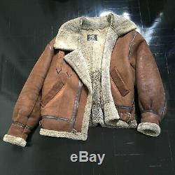 100% Shearling B-3 Flight Jacket Us Army Air Forces Vintage Bombardier Militaire Sz S