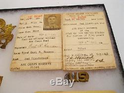 1940 Ww2 Pilote Armée De L'air Armée Des États-unis Groupant Des Cartes D'identité Insignes De Chapeau D'étiquette De Chien