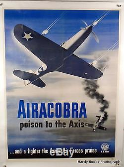 1943 Original Wwii Poster Airacobra Linen-backed / U. S. Army Air Force / Rare