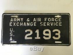 1948 Service D'échange De L'armée Et De L'aviation Américaines Avec Plaque D'immatriculation Aafes Aes Usaf