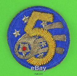 5ème Armée De L'air Des États-unis Us Army-made Bullion Patch Original Ww2 Seconde Guerre Mondiale