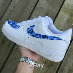 Air Force One Sur Mesure 1 Nike Taille 10.5 Blanc Bleu Etats-unis Libres Expédition