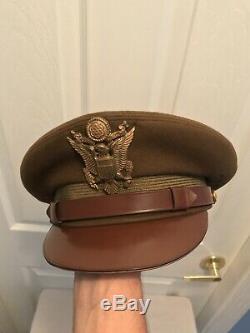 Air Original Seconde Guerre Mondiale L'armée Américaine Armée De Vol Ace Visor Hat Crush Crusher Cap