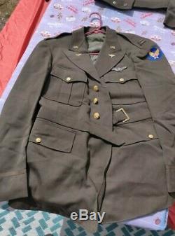 Armée De L'air Américaine Usaaf Officiers Aac Od Laine Gabardine Robe Veste Manteau 46l