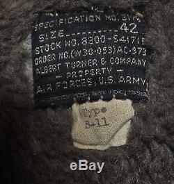 Armée De L'air De L'armée De L'armée De L'air De L'armée Des États-unis D'amérique Américaine B-11 B11 Parka Taille 42 Rare