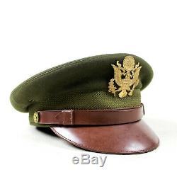 Armée Deuxième Guerre Forces Aériennes Usaaf Officier Robe Visor Chapeau Laine Couronne Feutre Taille 7