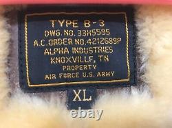 Authentique / Vintage Alpha U. S. Armée Armée De L'air De Type B-3 Bomber Jacket
