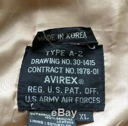 Avirex A-2 Big Beautiful Dolls En Cuir Bombardier Us Army Air Forces Jacket XL