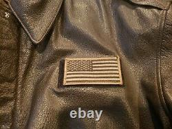 Avirex A-2 Us Army/air Force Brown Leather Flight Jacket Taille Homme 44