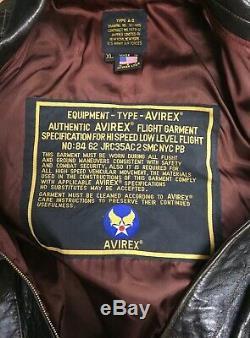 Avirex De Type A-2 # 30-1415 Marché N ° 1978-1901 Us Army Air Forces Bomber En Cuir