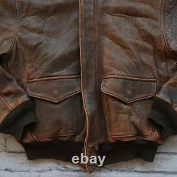 Avirex De Type A-2 Us Army Air Forces Flight Jacket En Cuir Made In USA Vtg 1986