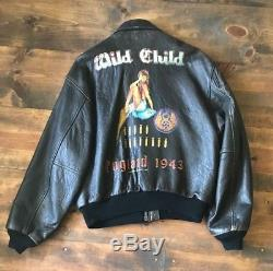 Avirex Men's Leather Jacket-édition Limitée-pin Up-bomber-us Army Air Forces