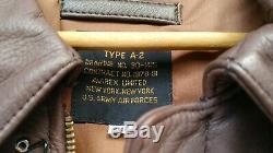 Avirex Type A-2 30-1415 Contrat N ° 1978-01 Blouson De Survol De L'armée De L'air Américaine 48