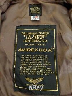 Avirex Veste En Cuir Vintage Bombardier Flight A-2 Us Army Air Force Taille 44