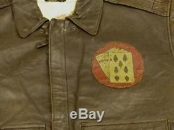 Avirex Vintage A2 Veste En Cuir Pilote Sac Temps Pin Up Air Force Taille M Rare