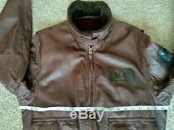 Avirex Vintage Flight Jacket En Cuir Us Army Air Force Doublure Laine Taille L