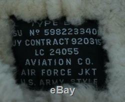 B-3 Aviation Air Force Us Veste En Peau De Mouton En Peau De Mouton Façon Shearling Taille Large! 1a1