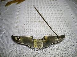 Belle Original De La Seconde Guerre Mondiale Us Army Air Force Sterling Silver Luxenberg Pilot Wing