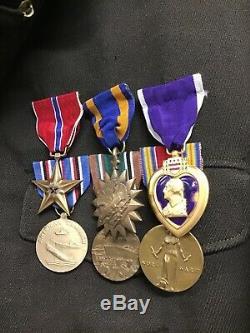 Blouson B-13 D'officier De L'armée De La Seconde Guerre Mondiale Avec Médailles 8ème Air Force