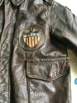 Clo En Cuir A-2 Aero. Co Horsehide Flying Jacket Art Nose Us Army Air Force Seconde Guerre Mondiale