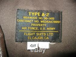 Costume De Vol Ltd Veste De Bombardier En Cuir De Type A-2 Air Force U. S. Army 48 Regular