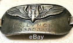 Deuxième Guerre Armée Insigne Air Force Militaire Wings Air Gunner Bracelet Sterling