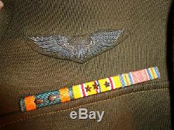 Deuxième Guerre Mondiale / Ww2-7th Army Air Force Ike Veste-1st Lt- Entièrement Décorée