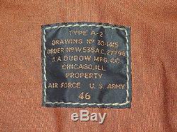Good Wear Dubow Army Air Forces Cuir De Chèvre Cuir A-2 Taille De La Veste 46 Commande 27798