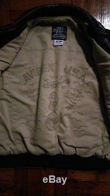 Hommes En Cuir Rare Vintage Marine Armée De L'air Force Avirex Bomber Type B-9 Brown Vest