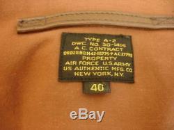 Hommes M 40 Ww2 De Type A-2 Flight Jacket Brown Leather Air Force De L'armée Américaine Authentique