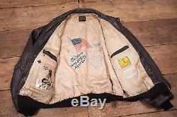 Hommes Vintage Avirex A2 Us Army Air Forces Chaussures À Volant Noir XL 50 R5461
