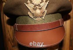 II Us Army Ww / Armée De Olive Drab Officier De L'aviation Chapeau De Laine Named Grand Aigle