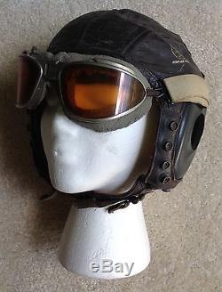 L'armée De L'air De L'armée Des Forces Aviateurs Crâne En Cuir Et Googles Ww2