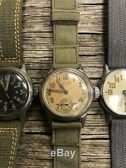Lot Vintage Militaire Seconde Guerre Mondiale Montres A-17 Us Air Force / Armée Elgin Waltham Montre Homme