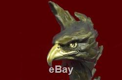 Marbre Eagle Head Buste Militaire Armée De L'air Marine Colonel Gift Bronze Sculpt