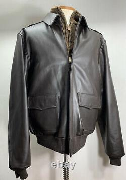 Militaire A-2 Willis & Geiger Army, Air Force Flight Leather Jacket Mens 46 L