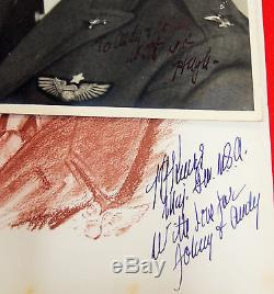 Millésime Ww2 Us Armée Air Force Général Knerr Signatures Nazi Plane Tissu Rare 3