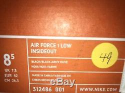 Nike Air Force 1 Low Insideout Noir / Armée Un-mita Olive Brand New Taille 8.5 Rare