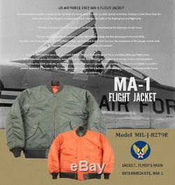 Non Stock Retro 1972 Ma-1 Flight Jacket Réversible Us Air Force Bombardier Épais