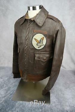 Officier Ww2 Blouson En Cuir Us Army Air Force Corp A2 Groupe Usaf Nom 38