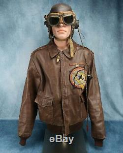 Officier Ww2 Blouson En Cuir Us Army Air Force Corp A2 Groupe Usaf Nom 44