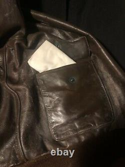 Org Seconde Guerre Mondiale Us Army Air Force Star Sportswear A-2 Leather Bomber Flight Jacket S 44