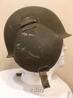 Original Ww2 Us Army Air Force M-3 Casque Flak Complet Avec Doublure Et Chin Strap