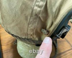 Original Wwii Us Army Air Force Summer Flying Helmet Avec Earphones (recevoirs)