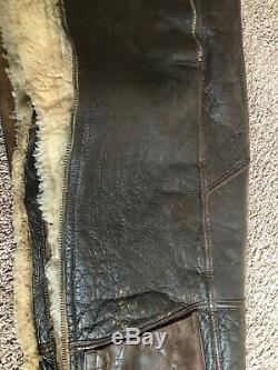Pantalon De Pilote Pilote En Cuir Ww2 Us Army Air Force H. L. B Corporation Taille 36