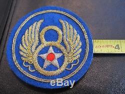 Patch De Veste De La 8ème Armée De L'armée De L'air De La Seconde Guerre Mondiale Vintage, Fil D'or Et De Lingot D'argent Réel