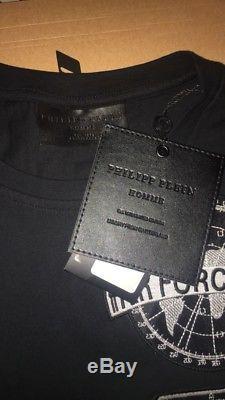 Philipp Plein Air Force Noir T-shirt Bnwt (moyen) Prix De Vente Recommandé 420 €