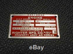 Plaque Signalétique De Moteur De Drone D'avion Plus Droit Gravée À L'acide Des Années 1940-1950 Dans L'armée De L'air