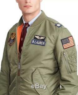Polo Ralph Lauren Hommes Armée Armée De L'air Armée Drapeau Américain Bombardier Vol Veste