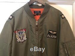 Polo Ralph Lauren Ma-1 Armée Militaire Us Air Force Flight Jacket Bombardier 2xlt